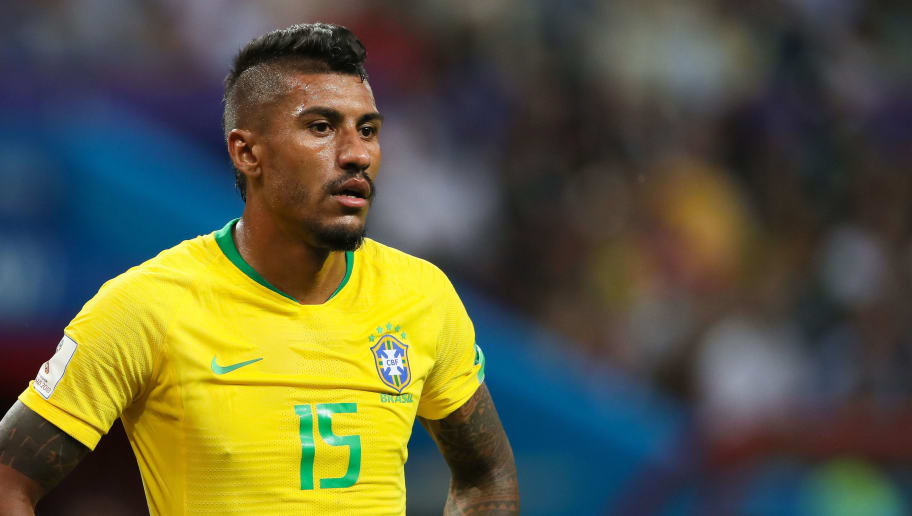 KAZAN, RUSSIA - JULY 06:    Paulinho of Brazil looks on during the 2018 FIFA World Cup Russia Quarter Final match between Brazil and Belgium at Kazan Arena on July 6, 2018 in Kazan, Russia. (Photo by Matthew Ashton - AMA/Getty Images)
