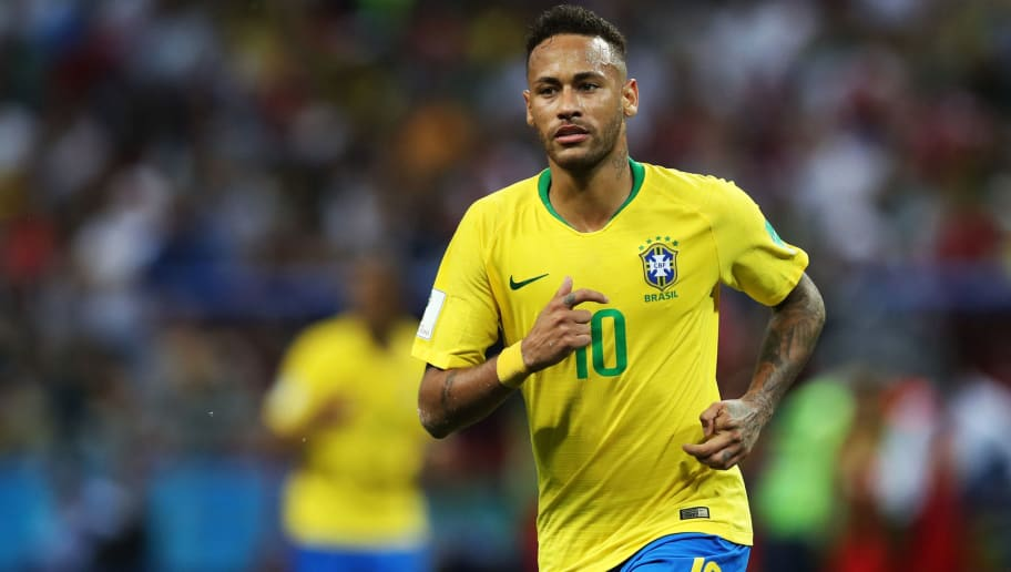 KAZAN, RUSSIA - JULY 06: Neymar of Brazil is seen during the 2018 FIFA World Cup Russia Quarter Final match between Winner Game 53 and Winner Game 54 at Kazan Arena on July 6, 2018 in Kazan, Russia. (Photo by Ian MacNicol/Getty Images)