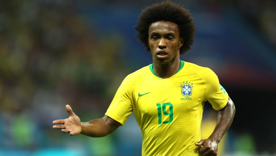 KAZAN, RUSSIA - JULY 06:  Willian of Brazil looks on during the 2018 FIFA World Cup Russia Quarter Final match between Brazil and Belgium at Kazan Arena on July 6, 2018 in Kazan, Russia.  (Photo by Catherine Ivill/Getty Images)