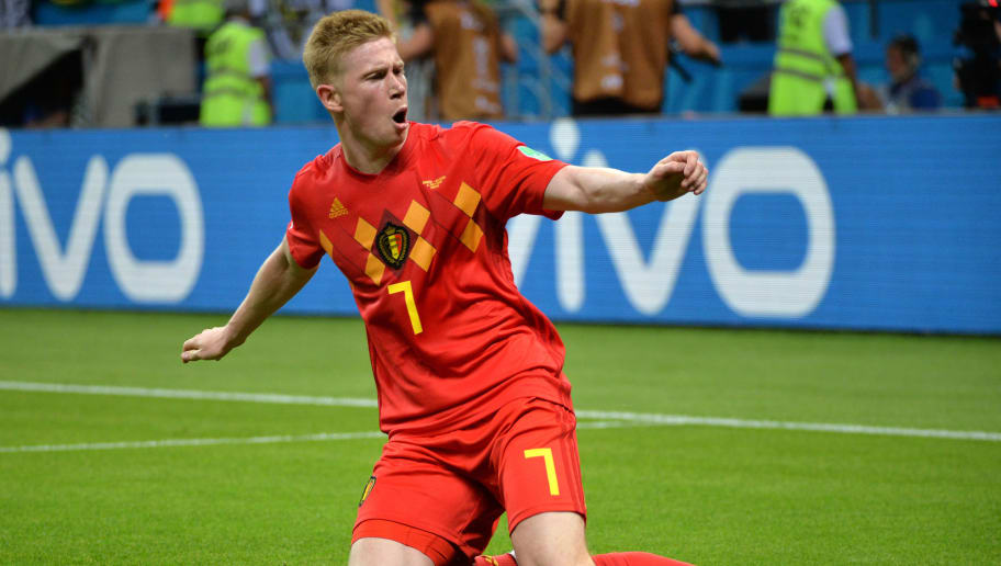 KAZAN, RUSSIA - JULY 06: Kevin De Bruyne celebrates after scoring a goal during the 2018 FIFA World Cup Russia Quarter Final match between Brazil and Belgium at Kazan Arena on July 6, 2018 in Kazan, Russia. (Photo by Ilnar Tukhbatov/Isosport/MB Media/Getty Images)