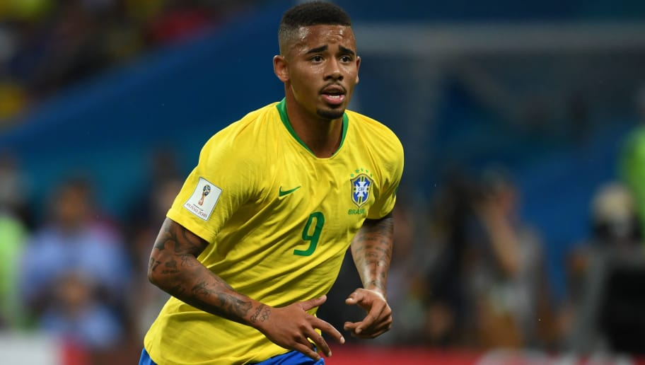 KAZAN,RUSSIA - JULY 6: Gabriel Jesus of Brazil in action during the 2018 FIFA World Cup Russia Quarter Final match between Brazil and Belgium at Kazan Arena on July 6, 2018 in Kazan, Russia. (Photo by Etsuo Hara/Getty Images)