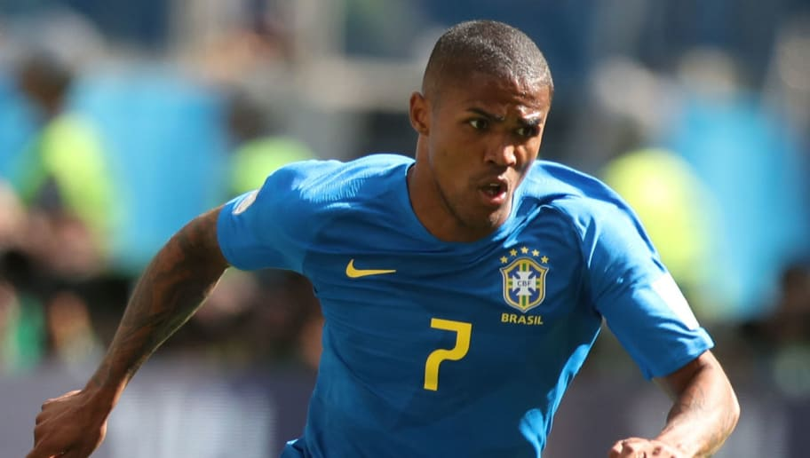 SAINT PETERSBURG, RUSSIA - JUNE 22: Douglas Costa of Brazil is seen during the 2018 FIFA World Cup Russia group E match between Brazil and Costa Rica at Saint Petersburg Stadium on June 22, 2018 in Saint Petersburg, Russia. (Photo by Ian MacNicol/Getty Images)