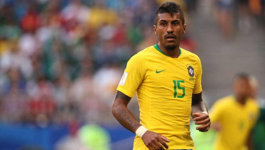 SAMARA, RUSSIA - JULY 02:   Paulinho of Brazil in action during the 2018 FIFA World Cup Russia Round of 16 match between Brazil and Mexico at Samara Arena on July 2, 2018 in Samara, Russia. (Photo by Matthew Ashton - AMA/Getty Images)