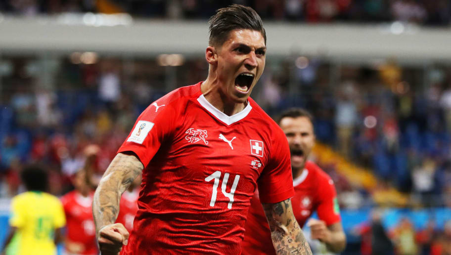 ROSTOV-ON-DON, RUSSIA - JUNE 17:  Steven Zuber of Switzerland celebrates after scoring his team's first goal during the 2018 FIFA World Cup Russia group E match between Brazil and Switzerland at Rostov Arena on June 17, 2018 in Rostov-on-Don, Russia.  (Photo by Kevin C. Cox/Getty Images)