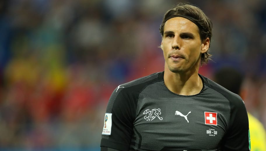 ROSTOV-ON-DON, RUSSIA - JUNE 17:   Yann Sommer of Switzerland looks on  during the 2018 FIFA World Cup Russia group E match between Brazil and Switzerland at Rostov Arena on June 17, 2018 in Rostov-on-Don, Russia. (Photo by Matthew Ashton - AMA/Getty Images)