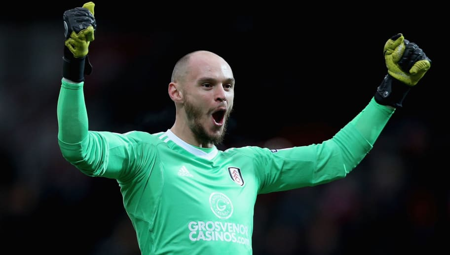 BRENTFORD, ENGLAND - DECEMBER 02: David Button of Fulham celebrates his sides opening goal during the Sky Bet Championship match between Brentford and Fulham at Griffin Park on December 2, 2017 in Brentford, England. (Photo by Harry Murphy/Getty Images)