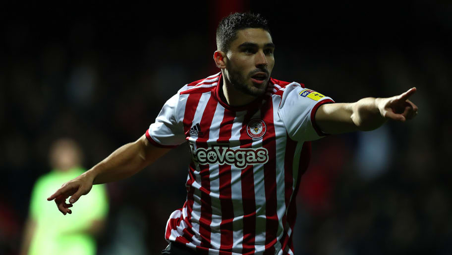 BRENTFORD, ENGLAND - NOVEMBER 27: Neal Maupay of Brentford celebrates scoring the opening goal during the Sky Bet Championship match between Brentford and Sheffield United at Griffin Park on November 27, 2018 in Brentford, England. (Photo by Dan Istitene/Getty Images)