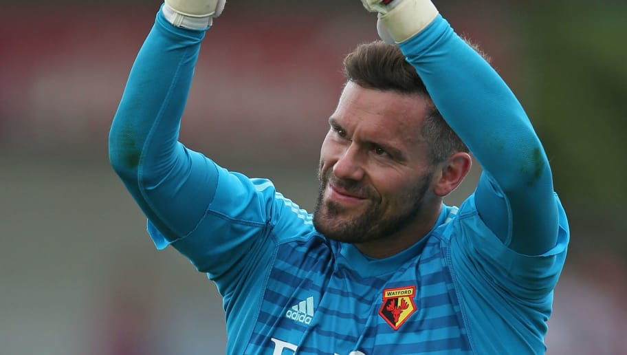 BRENTFORD, ENGLAND - JULY 28: Ben Foster of Watford applauds the supporters after the pre-season match between Brentford and Watford at Griffin Park on July 28, 2018 in Brentford, England. (Photo by Steve Bardens/Getty Images)