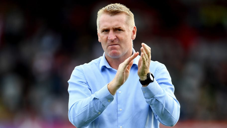 BRENTFORD, ENGLAND - SEPTEMBER 15: Dean Smith, Manager of Brentford reacts during the  Sky Bet Championship match between Brentford and Wigan on September 15, 2018 in Brentford, England. (Photo by Justin Setterfield/Getty Images)