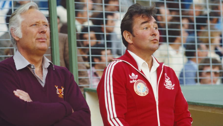 MADRID, SPAIN - MAY 28:  Nottingham Forest manager Brian Clough (R) and assistant Peter Taylor look on before the 1980 European Cup Final between Hamburg SV and Nottingham Forest at Santiago Bernab?u Stadium on May 28, 1980 in Madrid, Spain, The 1980 European Cup was the last trophy that Clough and Taylor would win as a partnership.  (Photo by Duncan Raban/Allsport/Getty Images).