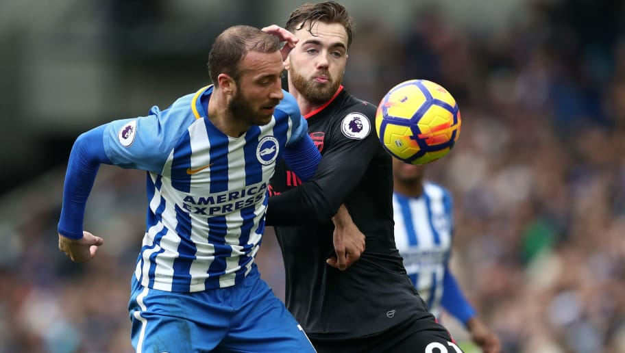 BRIGHTON, ENGLAND - MARCH 04: Glenn Murray of Brighton and Hove Albion battle with Calum Chambers of Arsenal during the Premier League match between Brighton and Hove Albion and Arsenal at Amex Stadium on March 4, 2018 in Brighton, England. (Photo by Catherine Ivill/Getty Images)
