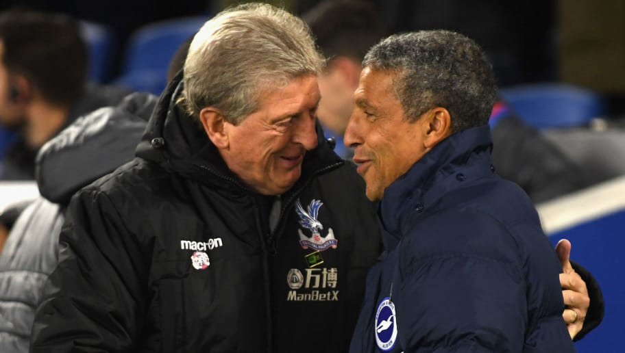 BRIGHTON, ENGLAND - NOVEMBER 28:  Roy Hodgson, Manager of Crystal Palace and Chris Hughton, Manager of Brighton and Hove Albion shake hands during the Premier League match between Brighton and Hove Albion and Crystal Palace at Amex Stadium on November 28, 2017 in Brighton, England.  (Photo by Mike Hewitt/Getty Images)