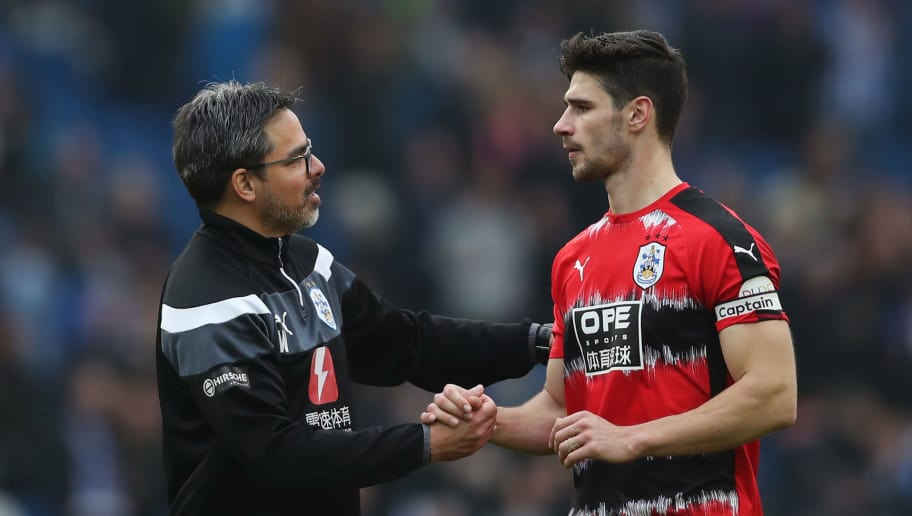 BRIGHTON, ENGLAND - APRIL 07:  David Wagner, Manager of Huddersfield Town speaks with Christopher Schindler of Huddersfield Town after the Premier League match between Brighton and Hove Albion and Huddersfield Town at Amex Stadium on April 7, 2018 in Brighton, England.  (Photo by Dan Istitene/Getty Images)