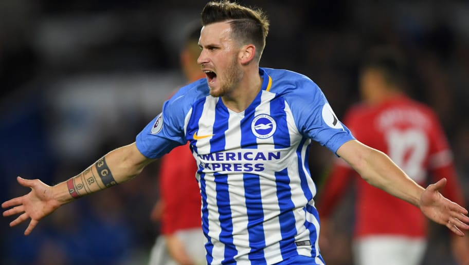 BRIGHTON, ENGLAND - MAY 04:  Pascal Gross of Brighton & Hove Albion celebrates scoring the opening goal during the Premier League match between Brighton and Hove Albion and Manchester United at Amex Stadium on May 4, 2018 in Brighton, England.  (Photo by Mike Hewitt/Getty Images)