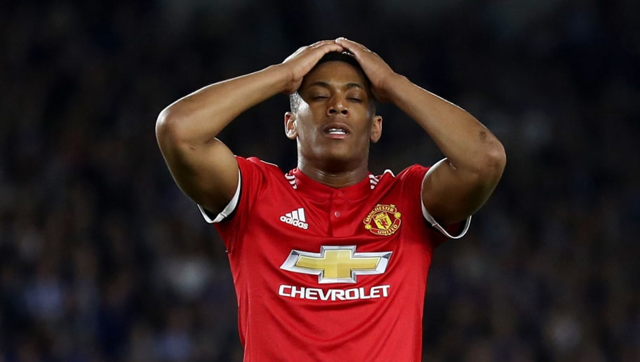BRIGHTON, ENGLAND - MAY 04:  Anthony Martial of Manchester United reacts during the Premier League match between Brighton and Hove Albion and Manchester United at Amex Stadium on May 4, 2018 in Brighton, England.  (Photo by Bryn Lennon/Getty Images)
