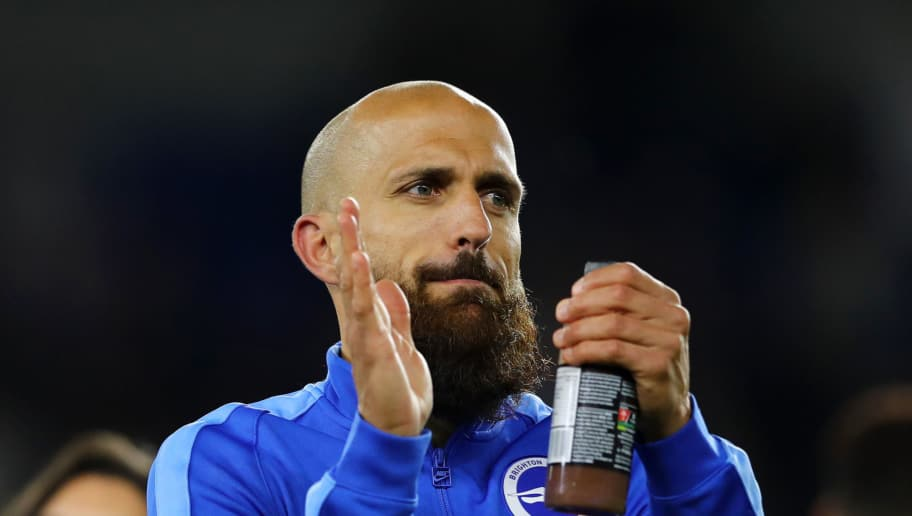 BRIGHTON, ENGLAND - MAY 04:  Bruno Saltor of Brighton & Hove Albion celebrates with team-mates on the pitch after the Premier League match between Brighton and Hove Albion and Manchester United at Amex Stadium on May 4, 2018 in Brighton, England.  (Photo by Bryn Lennon/Getty Images)