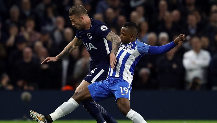 BRIGHTON, ENGLAND - APRIL 17:  Jose Izquierdo of Brighton & Hove Albion tackles Toby Alderweireld of Tottenham Hoptspur during the Premier League match between Brighton and Hove Albion and Tottenham Hotspur at Amex Stadium on April 17, 2018 in Brighton, England.  (Photo by Bryn Lennon/Getty Images)