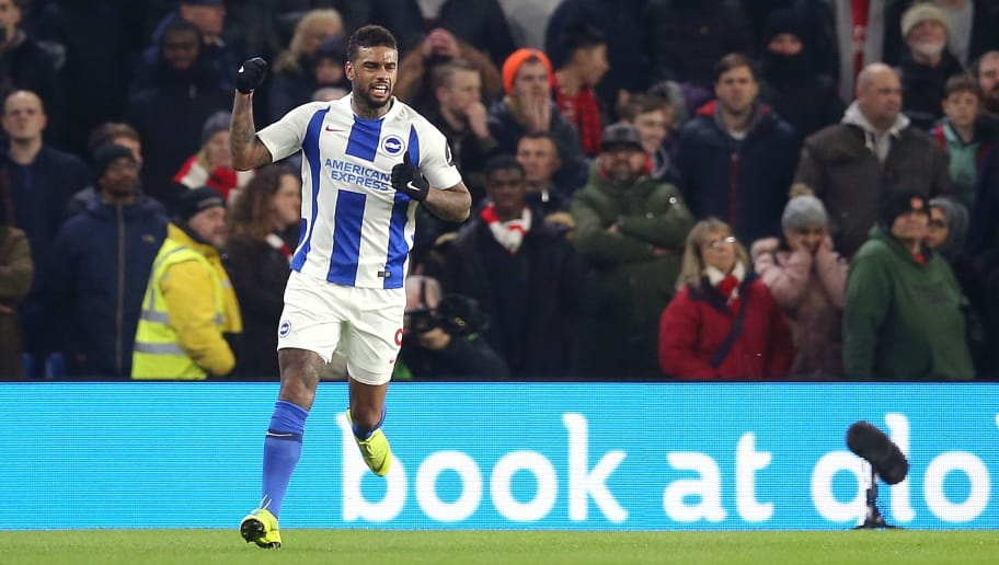 BRIGHTON, ENGLAND - DECEMBER 26:  Jurgen Locadia of Brighton & Hove Albion celebrates after scoring his team's first goal during the Premier League match between Brighton & Hove Albion and Arsenal FC at American Express Community Stadium on December 26, 2018 in Brighton, United Kingdom.  (Photo by Steve Bardens/Getty Images)