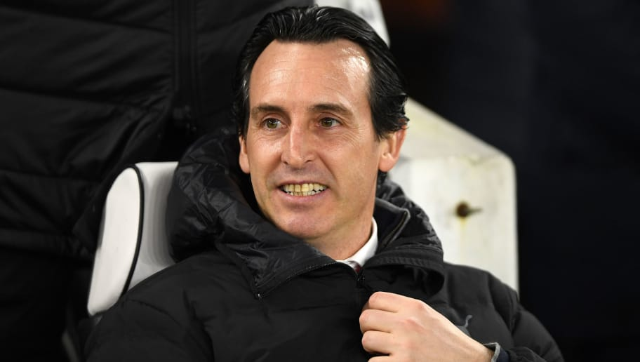 BRIGHTON, ENGLAND - DECEMBER 26:  Unai Emery, Manager of Arsenal looks on prior to the Premier League match between Brighton & Hove Albion and Arsenal FC at American Express Community Stadium on December 26, 2018 in Brighton, United Kingdom.  (Photo by Mike Hewitt/Getty Images)