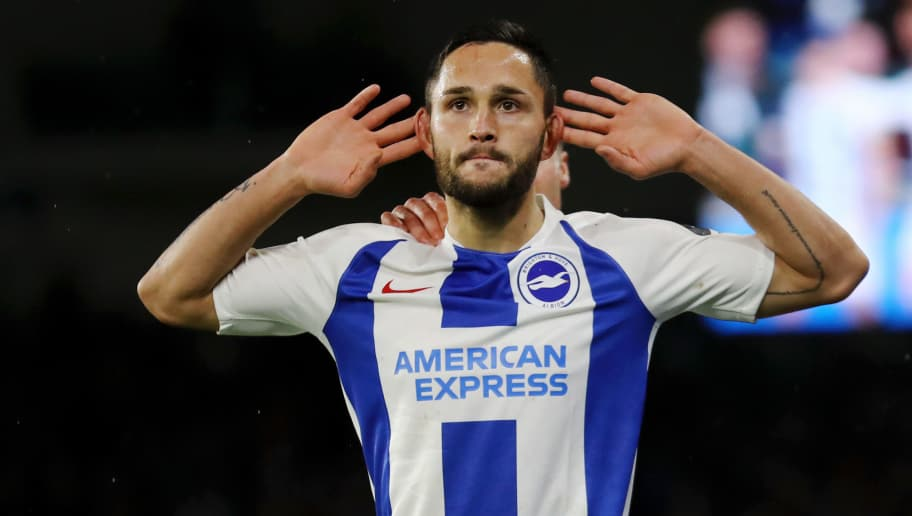 BRIGHTON, ENGLAND - DECEMBER 04:  Florin Andone of Brighton and Hove Albion celebrates after scoring his team's third goal during the Premier League match between Brighton & Hove Albion and Crystal Palace at American Express Community Stadium on December 4, 2018 in Brighton, United Kingdom.  (Photo by Bryn Lennon/Getty Images)