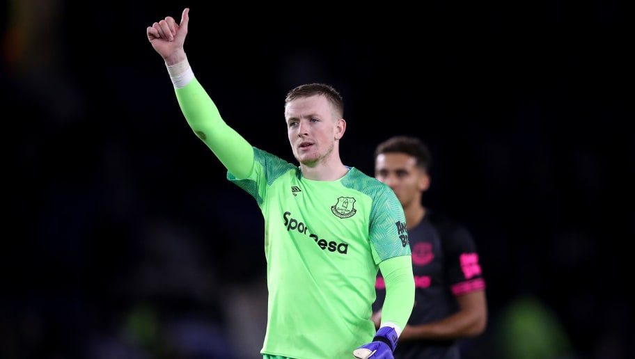 BRIGHTON, ENGLAND - DECEMBER 29:  Jordan Pickford of Everton reacts after the match during the Premier League match between Brighton & Hove Albion and Everton FC at American Express Community Stadium on December 29, 2018 in Brighton, United Kingdom.  (Photo by Dan Istitene/Getty Images)