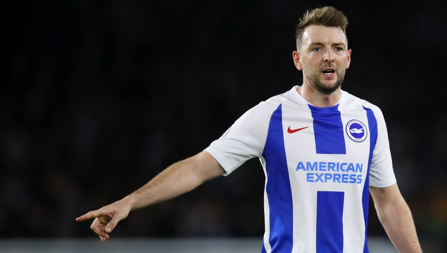 BRIGHTON, ENGLAND - DECEMBER 29:  Dale Stephens of Brighton & Hove Albion signals to his team-mates during the Premier League match between Brighton & Hove Albion and Everton FC at American Express Community Stadium on December 29, 2018 in Brighton, United Kingdom. (Photo by Dan Istitene/Getty Images)