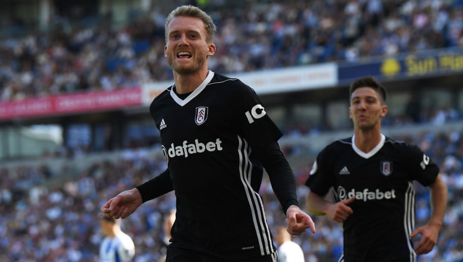 BRIGHTON, ENGLAND - SEPTEMBER 01:  Andre Schurrle of Fulham celebrates after scoring during the Premier League match between Brighton & Hove Albion and Fulham FC at American Express Community Stadium on September 1, 2018 in Brighton, United Kingdom.  (Photo by Mike Hewitt/Getty Images)