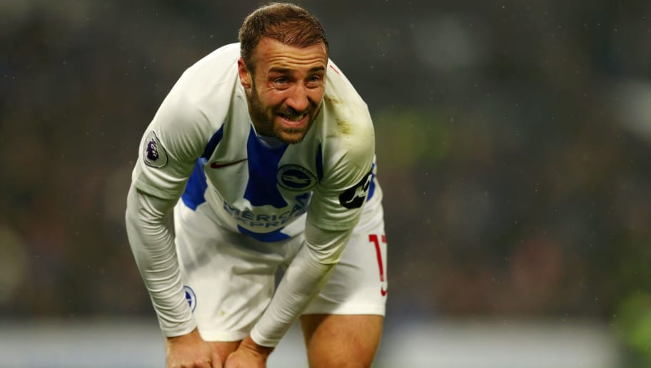 BRIGHTON, ENGLAND - NOVEMBER 24:  Glenn Murray of Brighton and Hove Albion reacts during the Premier League match between Brighton & Hove Albion and Leicester City at American Express Community Stadium on November 24, 2018 in Brighton, United Kingdom.  (Photo by Dan Istitene/Getty Images)