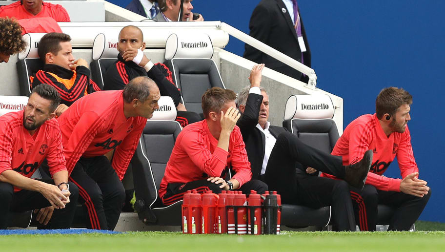 BRIGHTON, ENGLAND - AUGUST 19: Jose Mourinho, Manager of Manchester United reacts as Brighton and Hove Albion are awarded a penalty during the Premier League match between Brighton & Hove Albion and Manchester United at American Express Community Stadium on August 19, 2018 in Brighton, United Kingdom.  (Photo by Dan Istitene/Getty Images)