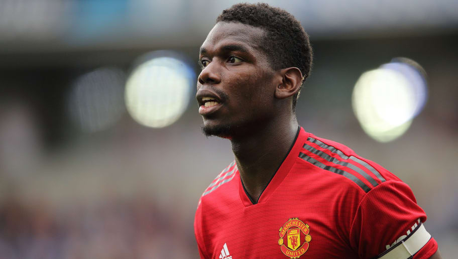 BRIGHTON, ENGLAND - AUGUST 19: Paul Pogba of Manchester United during the Premier League match between Brighton & Hove Albion and Manchester United at American Express Community Stadium on August 19, 2018 in Brighton, United Kingdom. (Photo by Matthew Ashton - AMA/Getty Images)