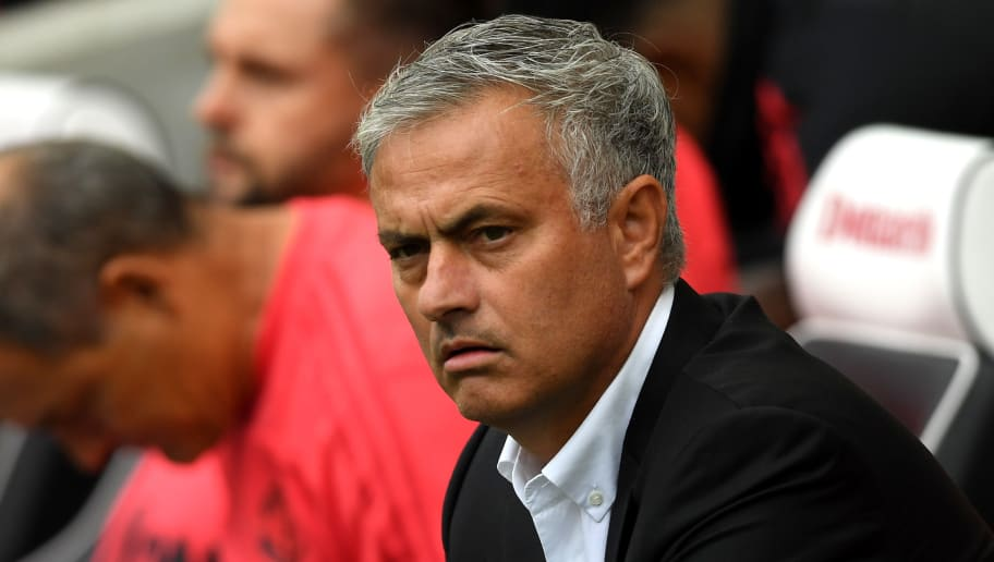 BRIGHTON, ENGLAND - AUGUST 19:  Jose Mourinho, Manager of Manchester United looks on during the Premier League match between Brighton & Hove Albion and Manchester United at American Express Community Stadium on August 19, 2018 in Brighton, United Kingdom.  (Photo by Mike Hewitt/Getty Images)