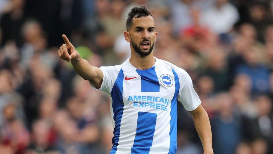 BRIGHTON, ENGLAND - AUGUST 19: Martin Montoya of Brighton and Hove Albion during the Premier League match between Brighton & Hove Albion and Manchester United at American Express Community Stadium on August 19, 2018 in Brighton, United Kingdom. (Photo by Matthew Ashton - AMA/Getty Images)