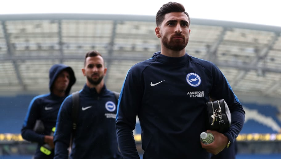 BRIGHTON, ENGLAND - AUGUST 19:  Alireza Jahanbakhsh of Brighton and Hove Albion arrives at the stadium prior to the Premier League match between Brighton & Hove Albion and Manchester United at American Express Community Stadium on August 19, 2018 in Brighton, United Kingdom.  (Photo by Dan Istitene/Getty Images)