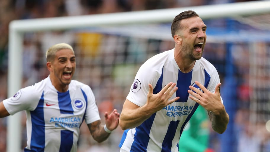 BRIGHTON, ENGLAND - AUGUST 19: Shane Duffy of Brighton and Hove Albion celebrates after scoring a goal to make it 2-0 during the Premier League match between Brighton & Hove Albion and Manchester United at American Express Community Stadium on August 19, 2018 in Brighton, United Kingdom. (Photo by Matthew Ashton - AMA/Getty Images)