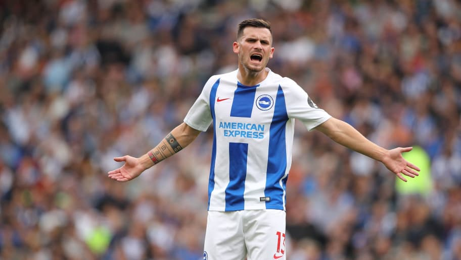 BRIGHTON, ENGLAND - AUGUST 19: Pascal Gross of Brighton and Hove Albion during the Premier League match between Brighton & Hove Albion and Manchester United at American Express Community Stadium on August 19, 2018 in Brighton, United Kingdom. (Photo by Matthew Ashton - AMA/Getty Images)