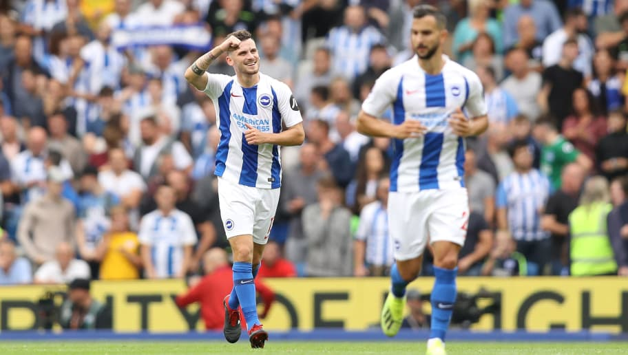 BRIGHTON, ENGLAND - AUGUST 19:  Pascal Gross of Brighton and Hove Albion celebrates after scoring his team's third goal during the Premier League match between Brighton & Hove Albion and Manchester United at American Express Community Stadium on August 19, 2018 in Brighton, United Kingdom.  (Photo by Dan Istitene/Getty Images)