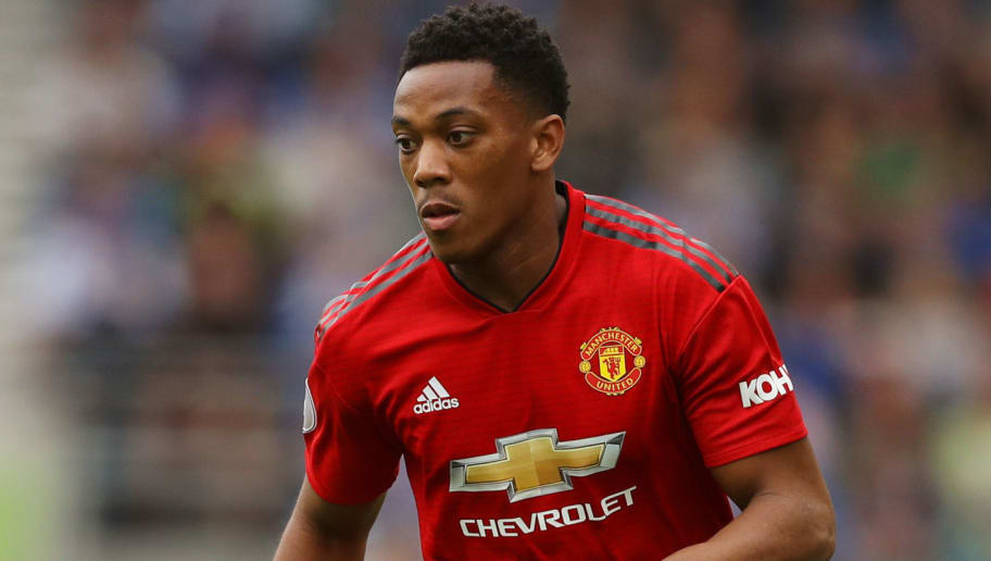 BRIGHTON, ENGLAND - AUGUST 19:  Anthony Martial of Manchester United runs with the ball during the Premier League match between Brighton & Hove Albion and Manchester United at American Express Community Stadium on August 19, 2018 in Brighton, United Kingdom.  (Photo by Dan Istitene/Getty Images)