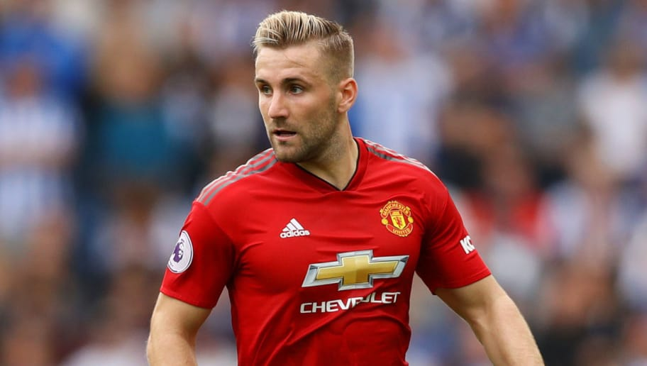 BRIGHTON, ENGLAND - AUGUST 19:  Luke Shaw of Manchester United controls the ball during the Premier League match between Brighton & Hove Albion and Manchester United at American Express Community Stadium on August 19, 2018 in Brighton, United Kingdom.  (Photo by Dan Istitene/Getty Images)