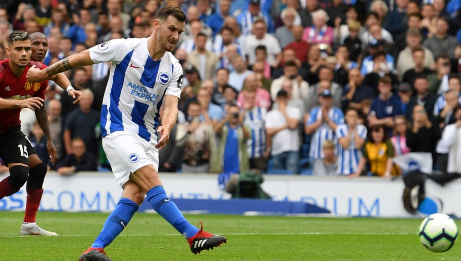 BRIGHTON, ENGLAND - AUGUST 19:  Pascal Gross of Brighton and Hove Albion shoots and scores his side's third goal from a penalty during the Premier League match between Brighton & Hove Albion and Manchester United at American Express Community Stadium on August 19, 2018 in Brighton, United Kingdom.  (Photo by Mike Hewitt/Getty Images)