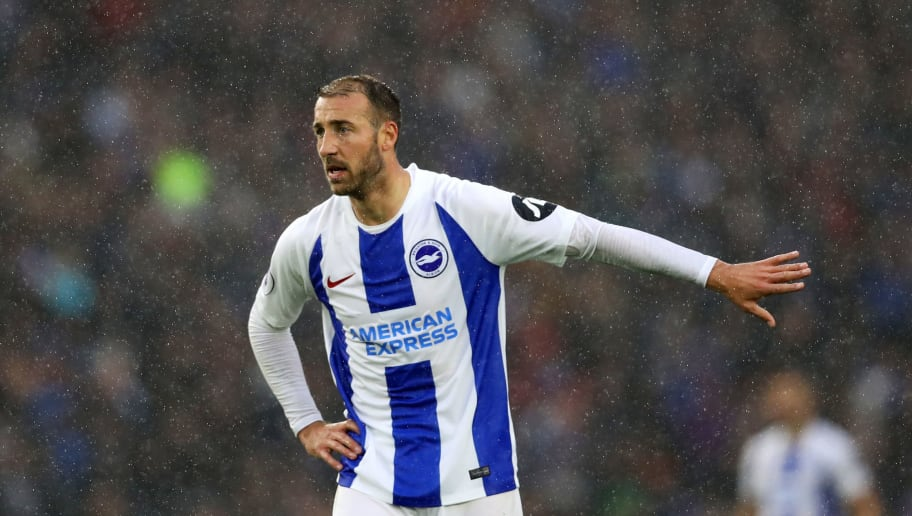 BRIGHTON, ENGLAND - SEPTEMBER 22:  Glenn Murray of Brighton & Hove Albion signals during the Premier League match between Brighton & Hove Albion and Tottenham Hotspur at American Express Community Stadium on September 22, 2018 in Brighton, United Kingdom.  (Photo by Dan Istitene/Getty Images)