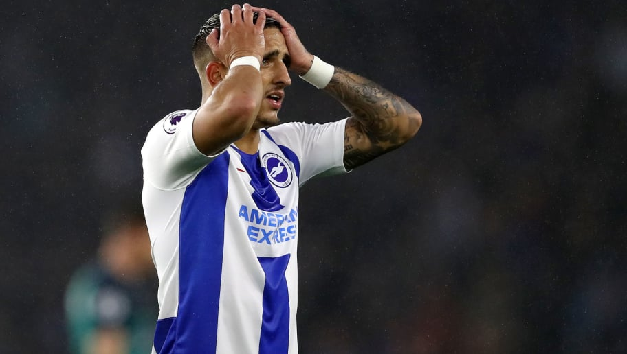 BRIGHTON, ENGLAND - SEPTEMBER 22:  Anthony Knockaert of Brighton and Hove Albion reacts during the Premier League match between Brighton & Hove Albion and Tottenham Hotspur at American Express Community Stadium on September 22, 2018 in Brighton, United Kingdom.  (Photo by Dan Istitene/Getty Images)