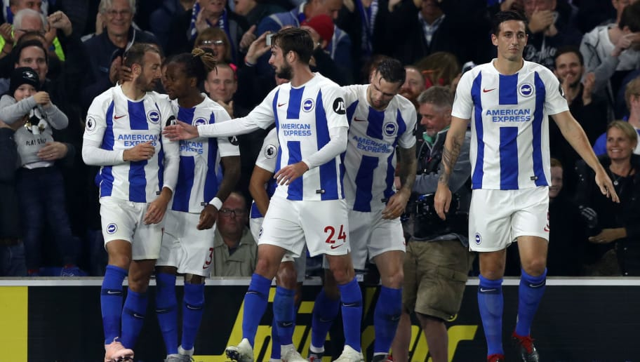 BRIGHTON, ENGLAND - OCTOBER 05:  Glenn Murray of Brighton and Hove Albion celebrates with team mates after scoring his team's first goal during the Premier League match between Brighton & Hove Albion and West Ham United at American Express Community Stadium on October 5, 2018 in Brighton, United Kingdom.  (Photo by Bryn Lennon/Getty Images)