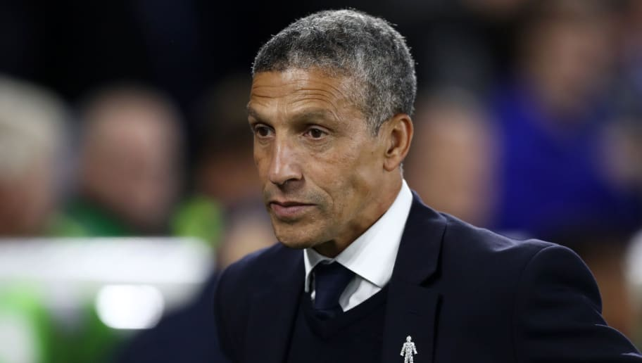 BRIGHTON, ENGLAND - OCTOBER 05:  Chris Hughton, Manager of Brighton and Hove Albion looks on during the Premier League match between Brighton & Hove Albion and West Ham United at American Express Community Stadium on October 5, 2018 in Brighton, United Kingdom.  (Photo by Bryn Lennon/Getty Images)