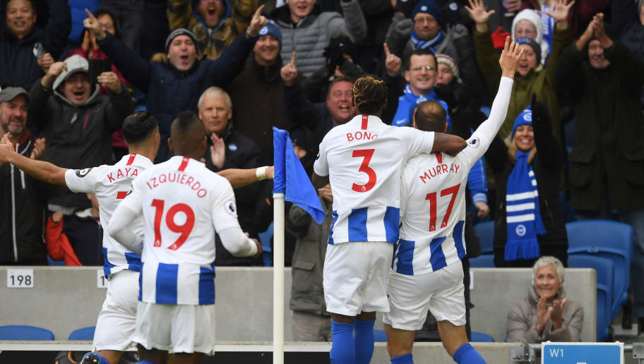 BRIGHTON, ENGLAND - OCTOBER 27: Glenn Murray of Brighton & Hove Albion celebrates with team mates after scoring his 100th goal for the club during the Premier League match between Brighton & Hove Albion and Wolverhampton Wanderers at American Express Community Stadium on October 27, 2018 in Brighton, United Kingdom. (Photo by Mike Hewitt/Getty Images)