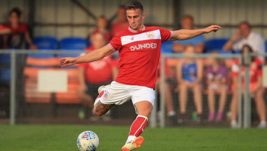 WESTON-SUPER-MARE, ENGLAND - JULY 10: Joe Bryan of Bristol City during the Pre-Season Friendly between Bristol City v Cheltenham Town on July 10, 2018 in Weston-Super-Mare, England. (Photo by Marc Atkins/Getty Images)