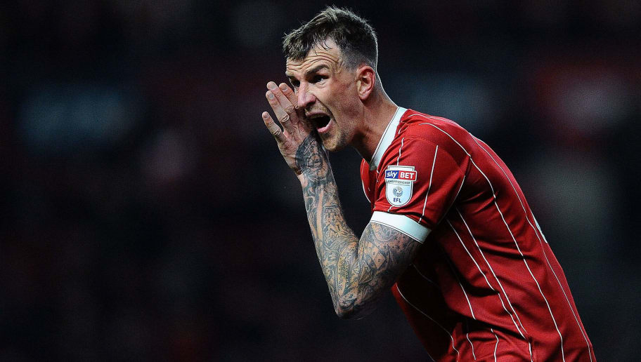 BRISTOL, ENGLAND - FEBRUARY 21: Aden Flint of Bristol City reacts during the Sky Bet Championship match between Bristol City and Fulham at Ashton Gate on February 21, 2018 in Bristol, England. (Photo by Harry Trump/Getty Images)