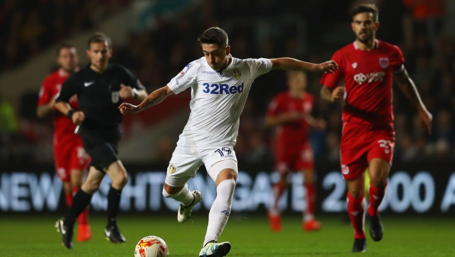 BRISTOL, ENGLAND - SEPTEMBER 27:  Pablo Hernandez of Leeds United shoots as Marlon Pack of Bristol City looks on during the Sky Bet Championship match between Bristol City and Leeds United at Ashton Gate on September 27, 2016 in Bristol, England.  (Photo by Michael Steele/Getty Images)