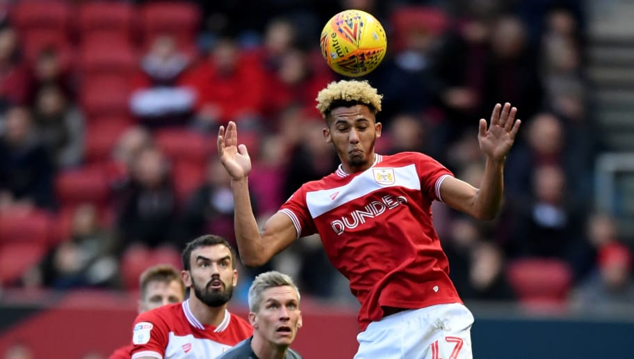 BRISTOL, ENGLAND - DECEMBER 02: Lloyd Kelly of Bristol City heads the ball  during the Sky Bet Championship match between Bristol City and Millwall at Ashton Gate on December 2, 2018 in Bristol, England. (Photo by Alex Davidson/Getty Images)
