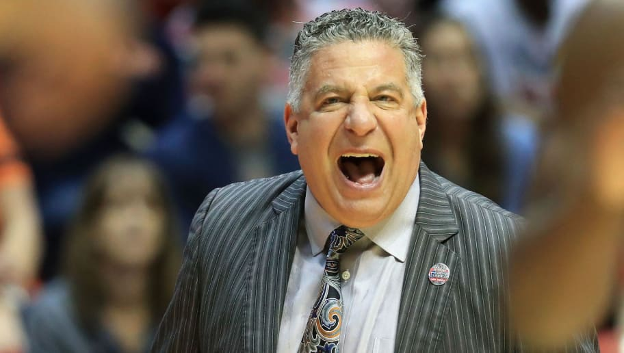 SAN DIEGO, CA - MARCH 16: Head coach Bruce Pearl of the Auburn Tigers reacts as they take on the Charleston Cougars in the first half in the first round of the 2018 NCAA Men's Basketball Tournament at Viejas Arena on March 16, 2018 in San Diego, California.  (Photo by Sean M. Haffey/Getty Images)