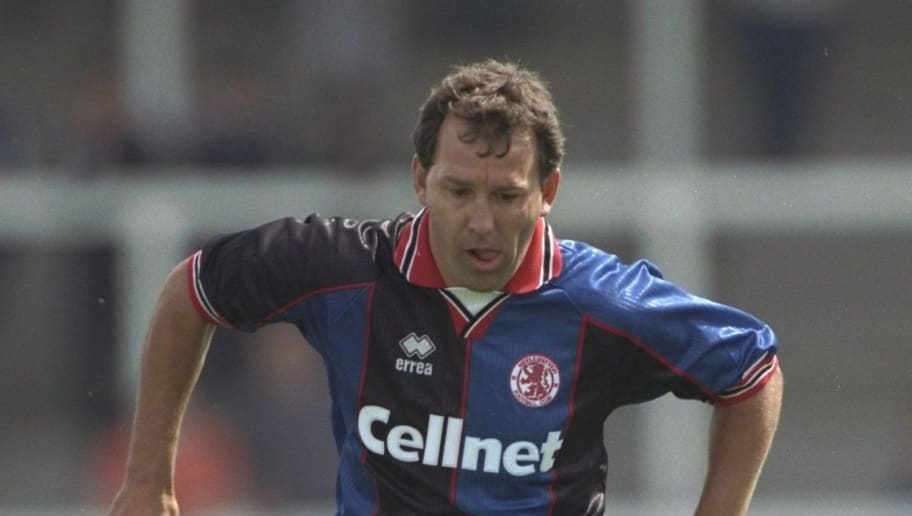 Jul 1997:  Player/Manager Bryan Robson of Middlesbrough in action during the pre-season friendly against Hartlepool United at Victoria Park in Hartlepool, England. \ Mandatory Credit: Clive Brunskill /Allsport